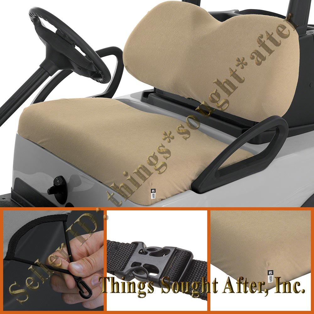 khaki terry cloth seat cover for club car golf cart 2 4 6 8 person man bench set ebay. Black Bedroom Furniture Sets. Home Design Ideas