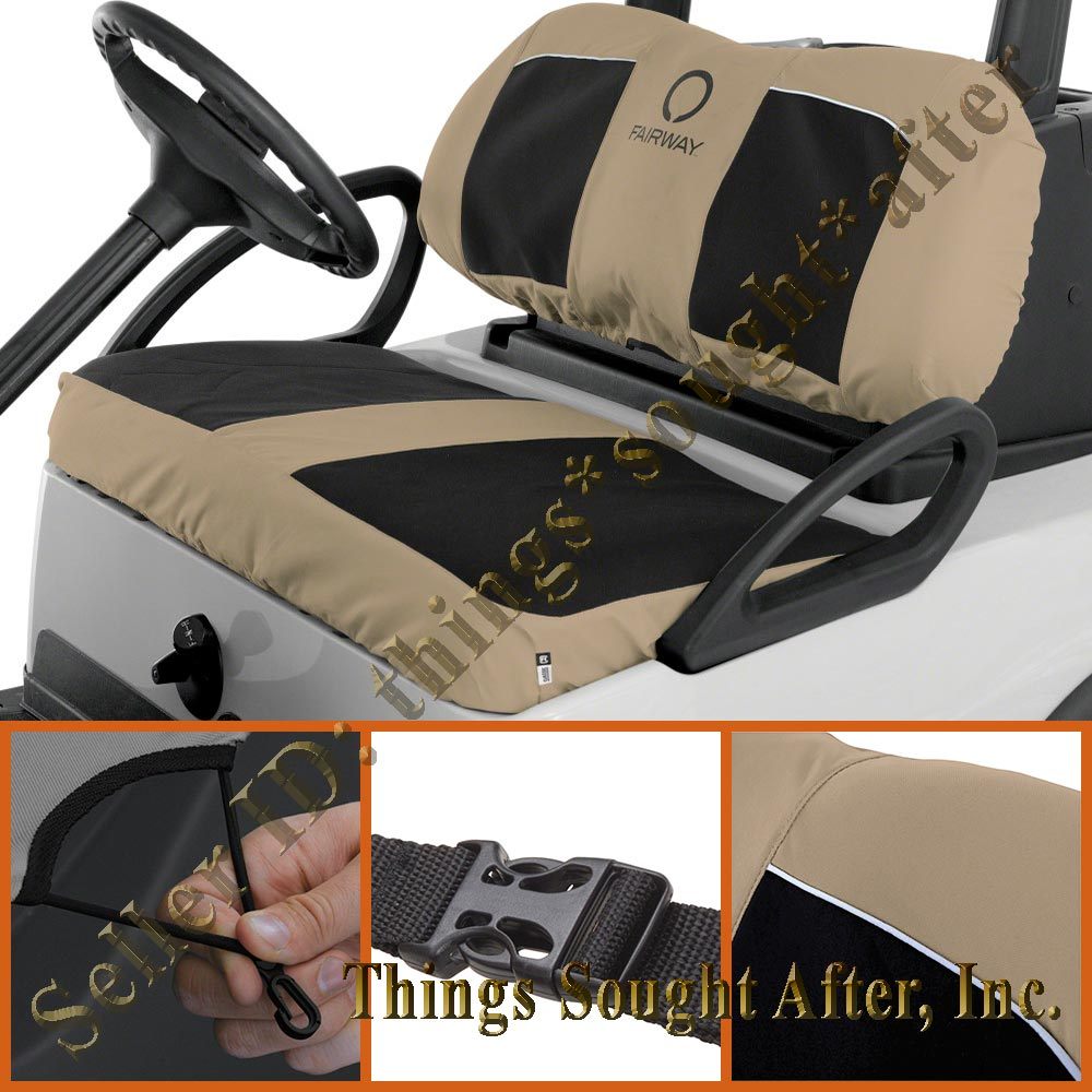 Khaki Black Neoprene Seat Cover For Yamaha Drive Golf Car