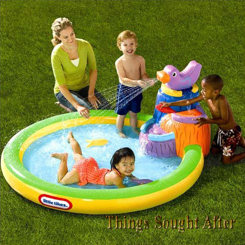 little tikes harbor falls infatable kids swimming blow up backyard kiddie pool ebay. Black Bedroom Furniture Sets. Home Design Ideas