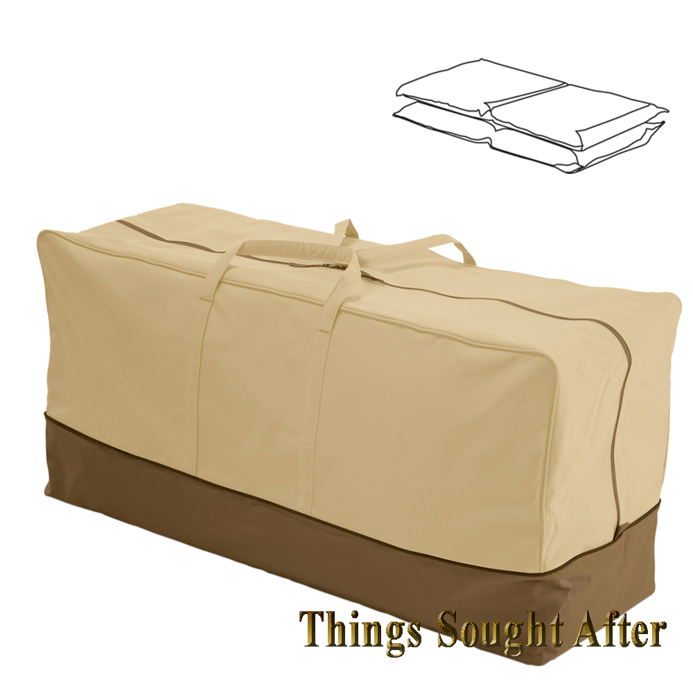 Seat cushion storage bag for chair bench chaise patio for Chaise bench storage